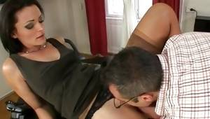 Dark-haired hooker has the fucking with matured