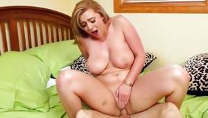 Messy breasty skank is riding on heavy sweetmeat