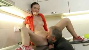 Nubile granddad resolves to give his chavette oral fellatio in the kitchen