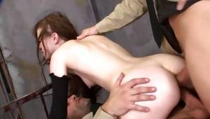 This tiny angel freaks out on huge jocks in a precisely backdoor of her
