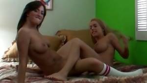 Two wonderful babes glimpse nice as long as they pleasuring the snatches