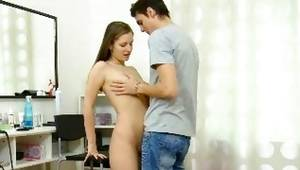 The lass is taking pleasure while man is sucking on her perfect tits