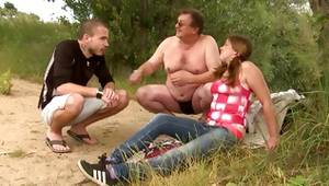 Old ugly man having sex in a countryside with some teen sweetheart