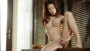 Sluttish lady is sexy rubbing her tits